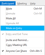 Participant menu - Mute on entry