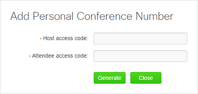 WebEx - Add Personal Conference Number