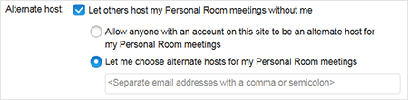 Choose Alternate Host for Personal Room meetings