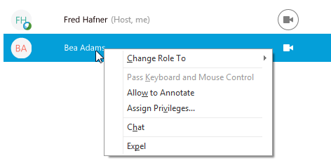 Host right-click options