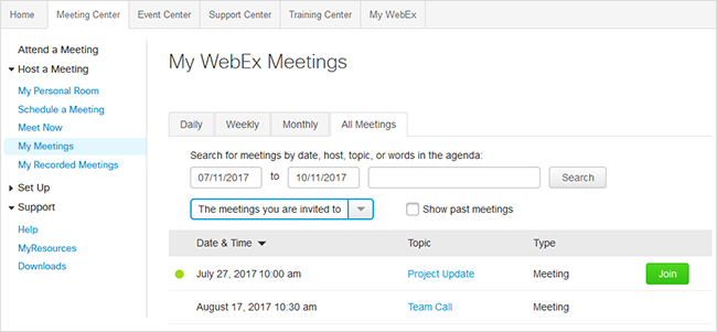 Join a meeting from a WebEx site