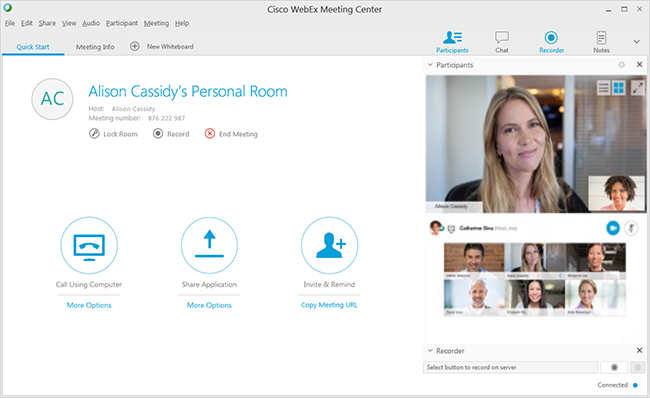 Meeting Center interface