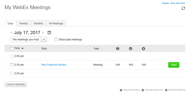 Start a scheduled meeting - My WebEx Meetings