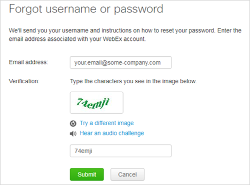 Forgot username or password form