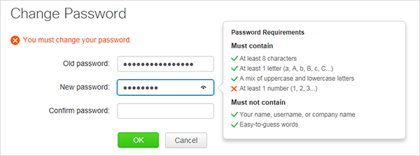 Change password - requirements