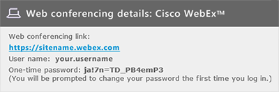 Welcome email - WebEx one-time password