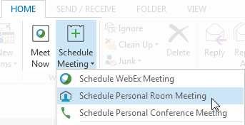 Schedule Meeting - Schedule Personal Room Meeting from Outlook