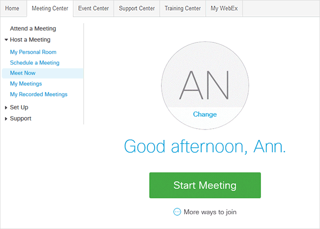 Start an instant meeting - Meet Now
