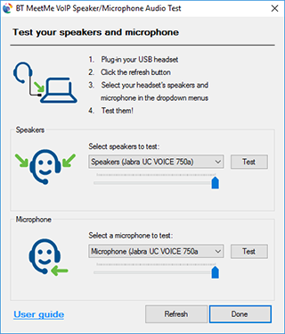 Test your speakers and microphone using VoIP codec
