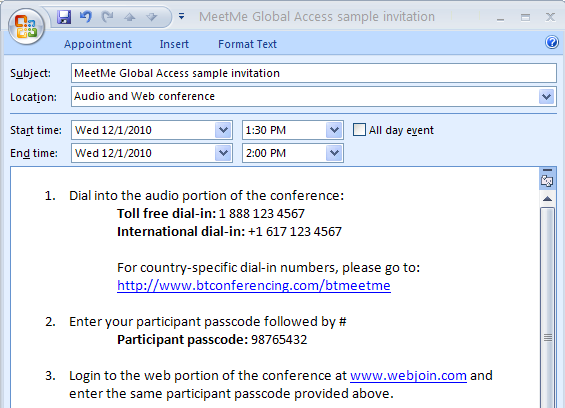 sample BT MeetMe Global Access invitation