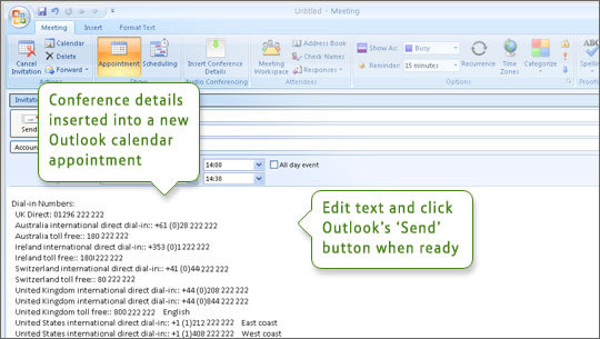 BT MeetMe Addin for Outlook Support User Guides BT Conferencing